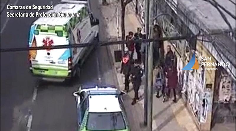 Cámaras de Seguridad permiten brindar asistencia a peatón embestido por una motocicleta